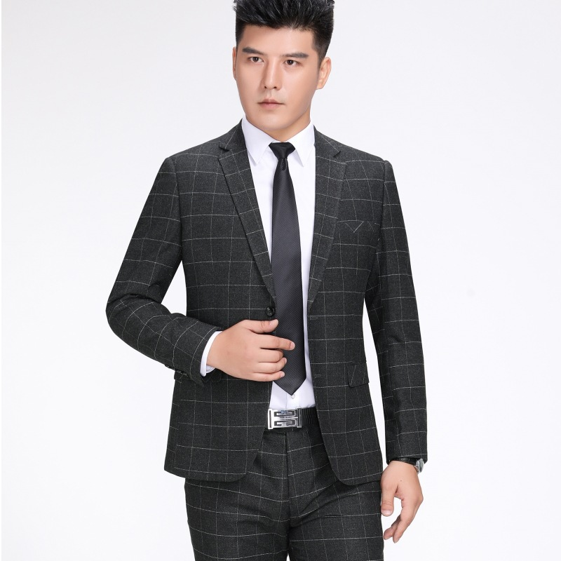 Crazy business casual mens two-piece suit wool suit spring and autumn middle-aged fathers coat Plaid suit coat