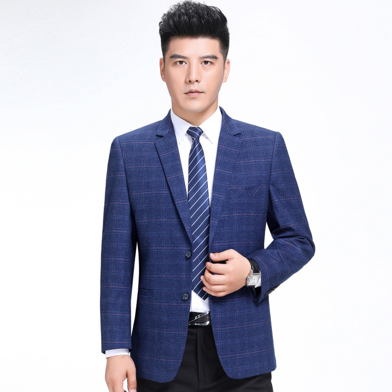 Autumn and winter mens suit fashion business middle aged wool single suit boutique plaid coat one double breasted