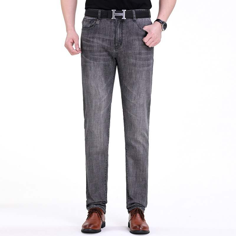 2020 brand spring and summer mens middle-aged mens slim fit mens straight casual jeans ouana micro elastic