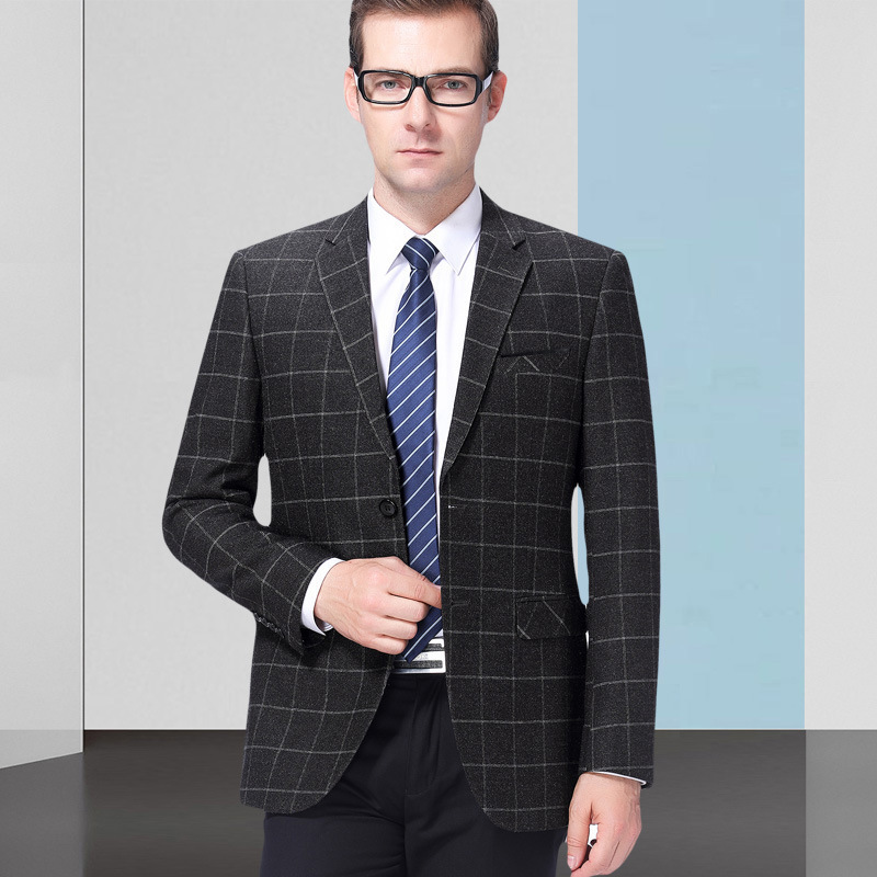 New coat mens badge suit spring and autumn slim fit middle-aged Wool Plaid dad size oversized casual West Long Sleeve