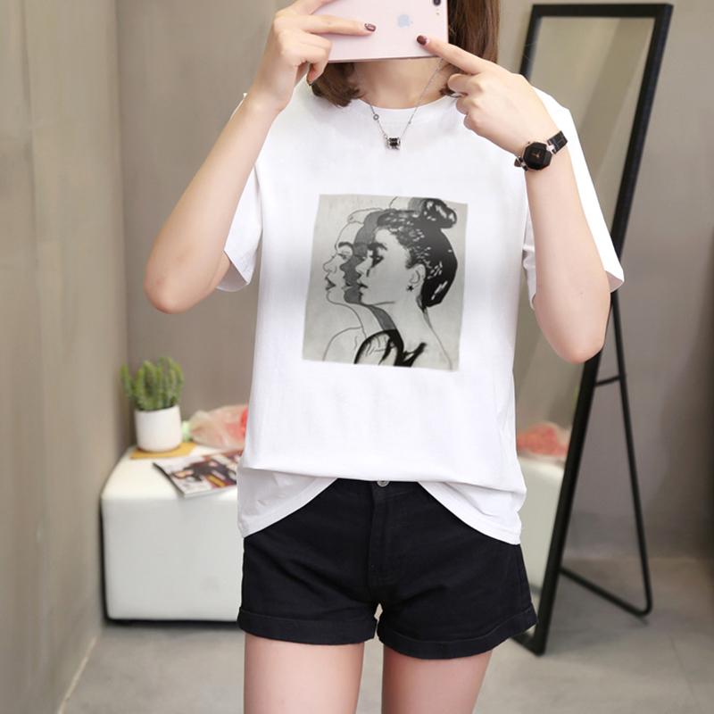 2019夏季上衣韩版女装新款圆领大码宽松卡通印花短袖t恤