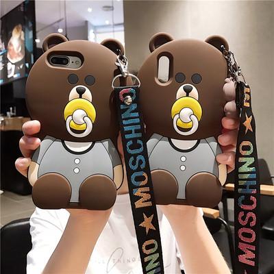 網紅小熊可愛卡通iPhone6splus手機殼8蘋果X萌7p全包7硅膠5se女款套潮Xs硅膠防摔女Xr潮牌XsMax軟s保護外殼