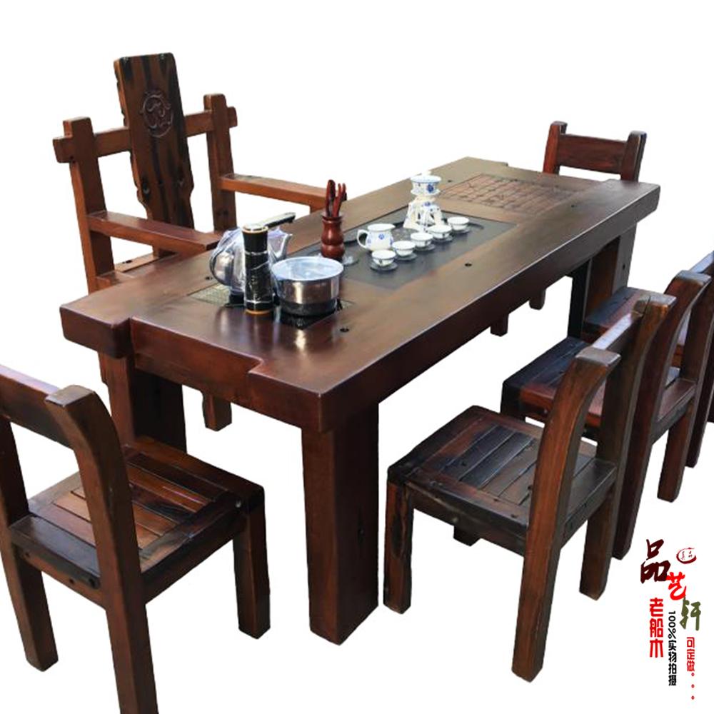 Старый судно деревянный чайник столы и стулья сочетание гостиная усилие чай тайвань кофейный столик на открытом воздухе балкон чайный стол китайский стиль дерево мебель специальное предложение