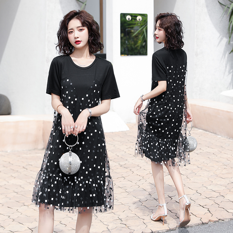 2020 new Korean version of splicing lace black mesh wave dot flower HJ dress short skirt age reduction show thin A-line