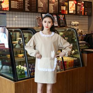 双层韩版时尚卡通小兔子耳朵带袖套围裙 罩衣厨房衣 工作服情侣款