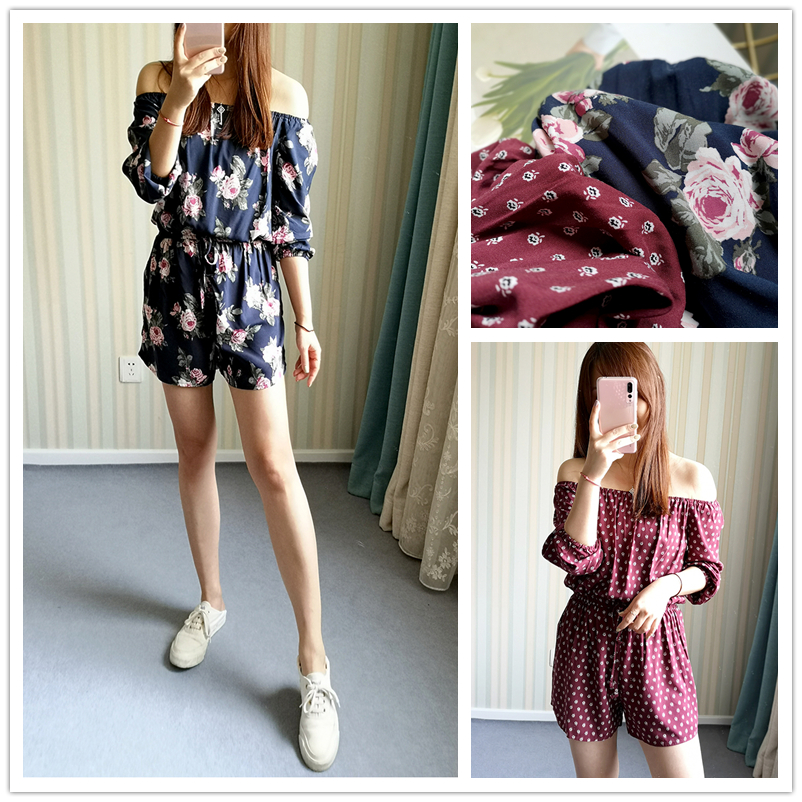 18 summer SS favorite loose one shoulder off shoulder flower 3 / 4 sleeve one-piece skirt pants womens one-piece shorts