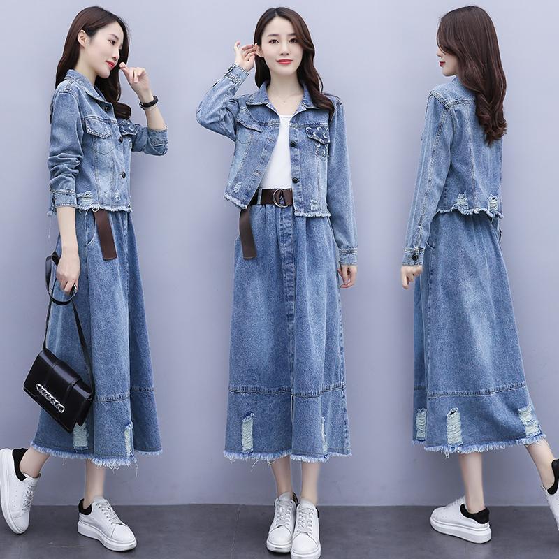 牛仔裙连衣裙秋装2021年新款女装短外套搭配半身裙两件套减龄显瘦