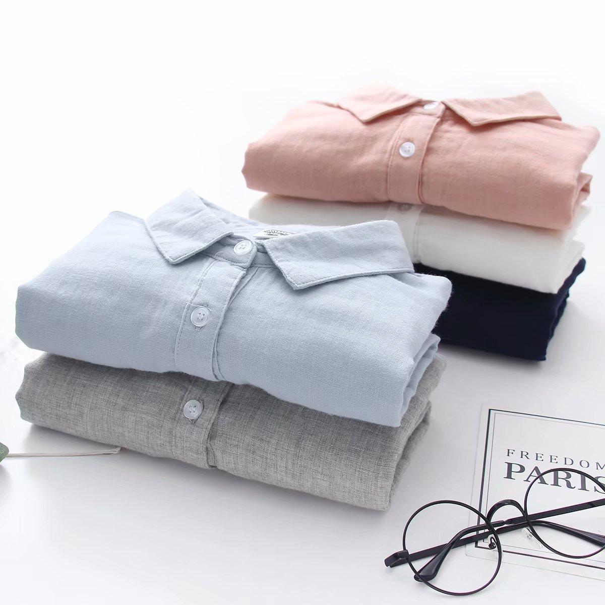 不包邮2019春装新款日系女双层纱纯棉衬衫