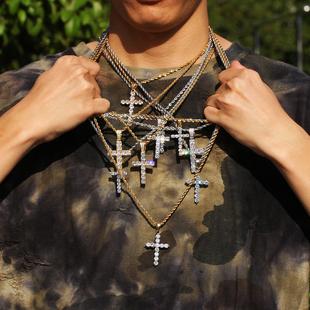十字架吊坠男ins嘻哈项链潮个性毛衣百搭简约网红生街头说唱士女
