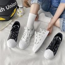 鞋子女ins潮学生党2021新款夏季可爱小白帆布板鞋女百搭运动鞋