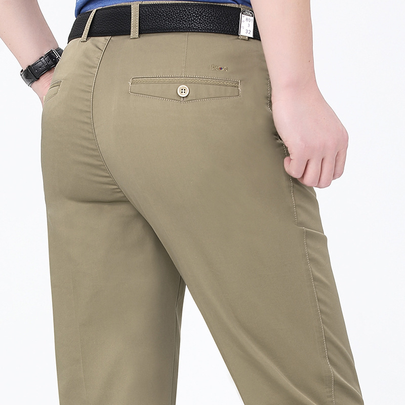 Spring and summer 2021 middle aged mens pants business fashion middle waist straight tube cotton versatile casual pants hit the bullet