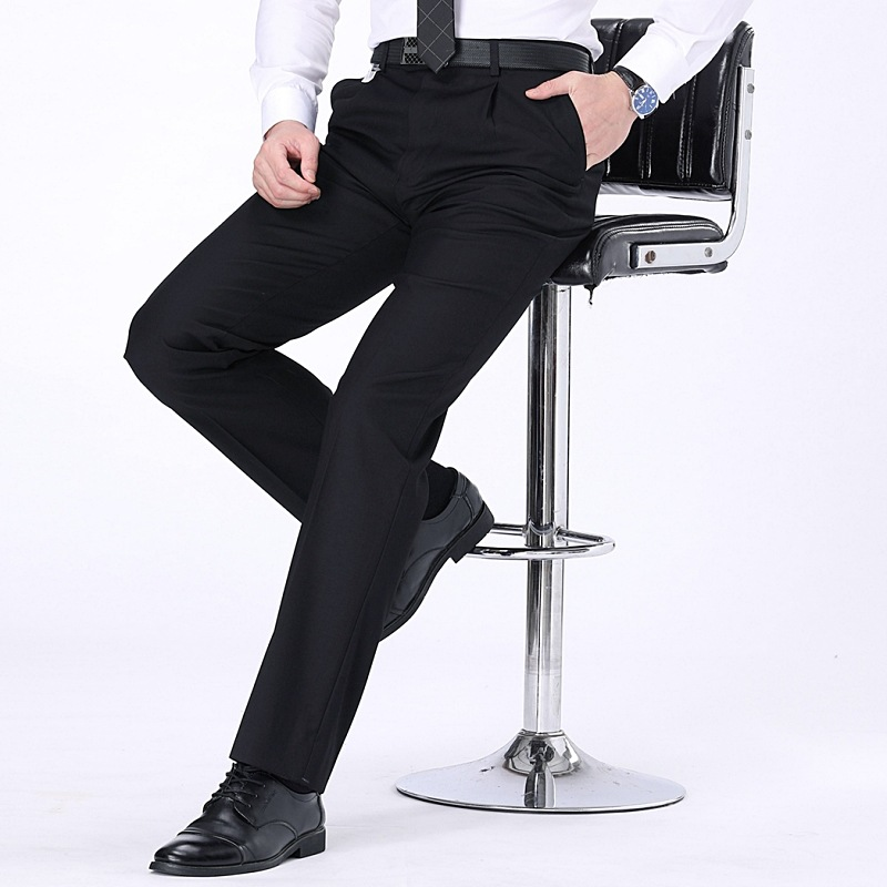 Casual mens trousers autumn and winter heavy wool trousers mens middle age loose straight tube no iron formal wear large pants mens trousers