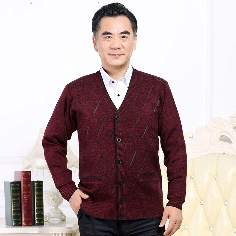 Middle aged and old peoples sweater cardigan mens autumn and winter extra large grandfather and fathers Plush thickened sweater coat