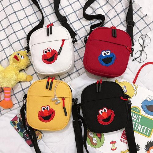 帆布包女斜挎百搭ins包包新款2019学生韩版单肩可爱放手机的小包