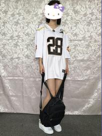 原宿大码篮球服女夏 宽松嘻哈韩版t恤显瘦学生中长款条纹棒球衫