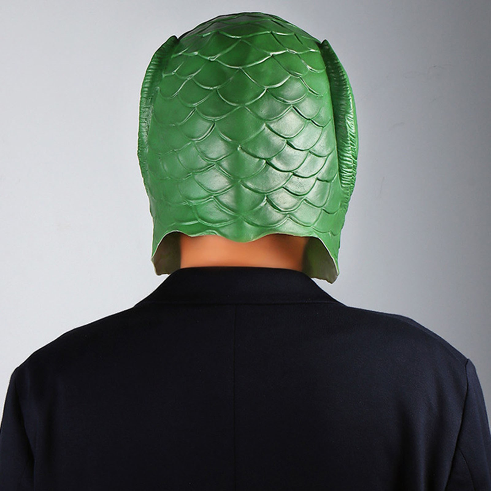 Green fish head mask full face animal lizard horror monster fish mouth head set Halloween DJ role-playing props