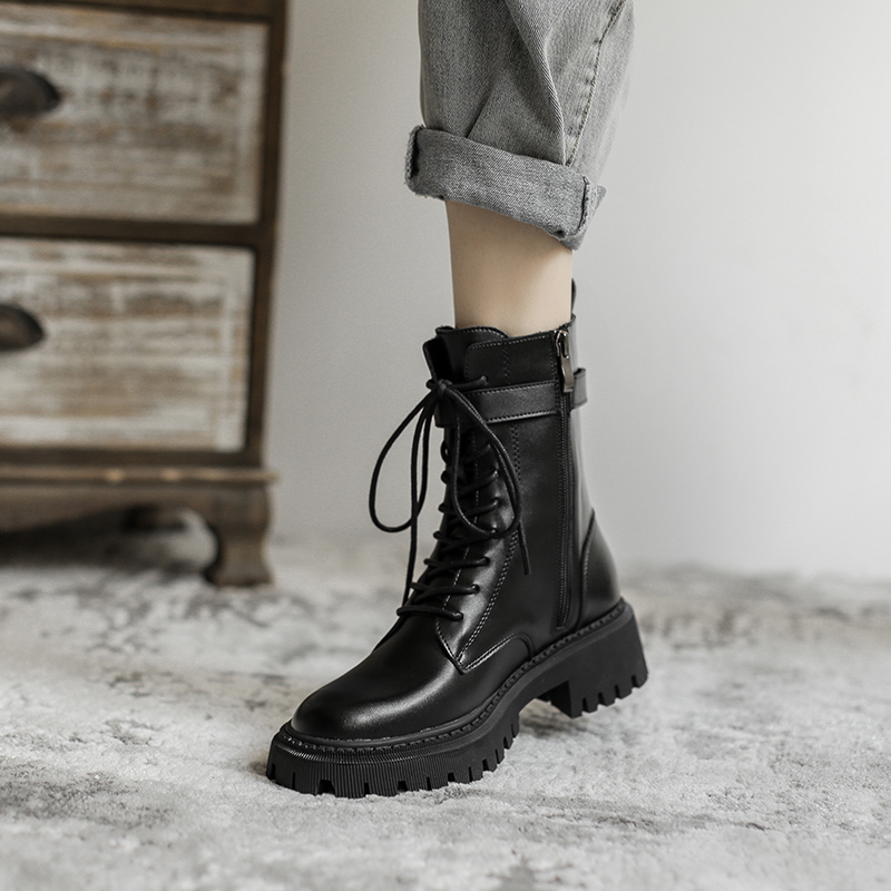 ins2020马丁靴女英伦风年新款秋冬季百搭加绒帅气靴子厚底短靴潮