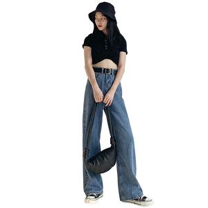 宽松显瘦2021年夏季直筒垂感牛仔裤