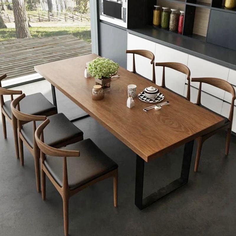 北欧风复古铁艺实木餐桌家用咖啡店长方形美式饭店loft餐桌椅组合