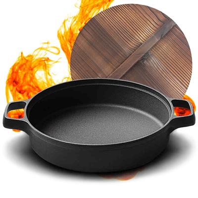 铸铁平底锅加厚无涂层不粘锅家用老式生铁锅水煎包煎锅烙饼锅饼铛