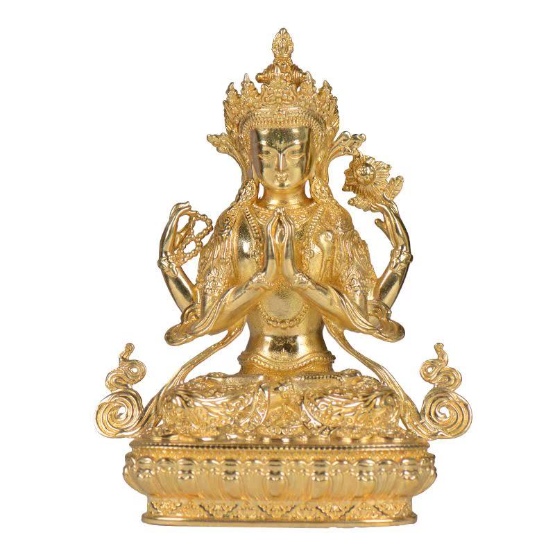 四臂观音密宗摆件纯铜鎏金西藏居家供奉3寸观音菩萨小佛像
