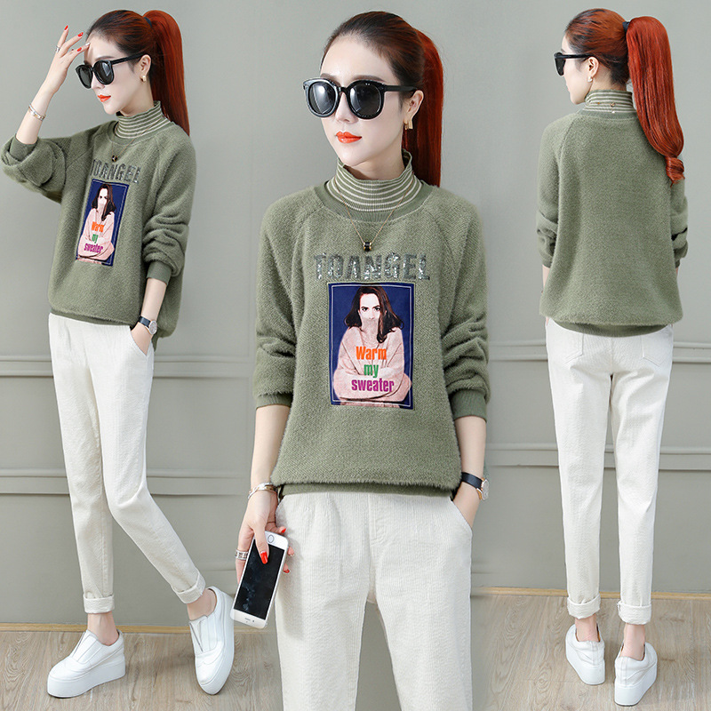 Womens new fashion sweater 2020 winter Korean version loose and comfortable sport style Plush warm trend high collar sweater