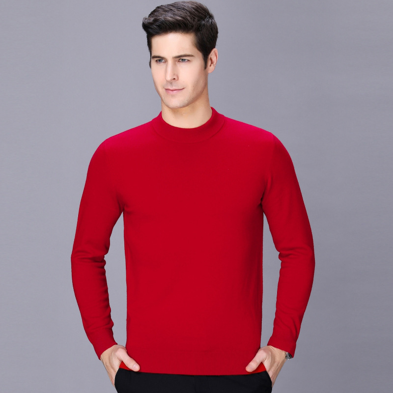 Sweater mens half high collar autumn winter 2020 new solid color long sleeve Pullover mens cashmere sweater fashion