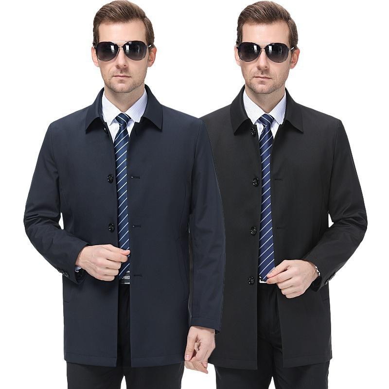 新品代发2020夹克春款男士外套休闲大码中长款翻领时尚风衣爸爸装