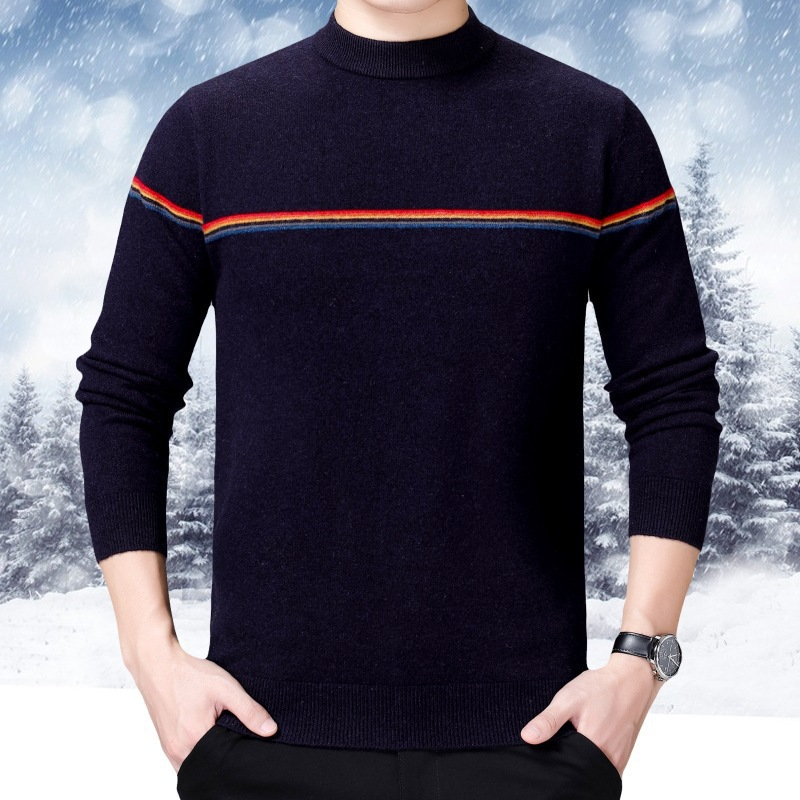 Mens warm sweater winter 2019 middle aged mens T-shirt knitted with round neck sweater and thickened cashmere sweater