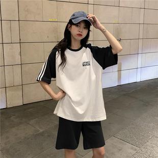 休闲运动服套装女夏韩版学生短袖短裤时尚洋气显瘦网红跑步两件套图片