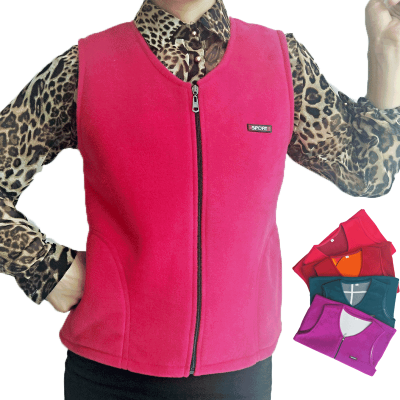 Vest womens large autumn and winter shoulder warm middle-aged and old peoples fleece tank top slim sports cardigan fleece