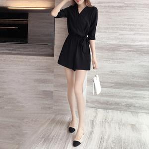 香港潮牌2020夏季新款小清新连体衣女装雪纺显瘦高腰气质短裤女潮