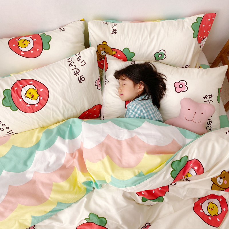 Lovely cartoon style AB version cotton four piece set all cotton children students small fresh sheet fitted sheet bedding