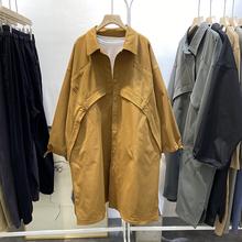 洋气韩版秋季休闲百搭POLO领显瘦宽松长袖大版风衣女复古长款外套