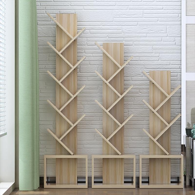 树形书架现代简约客厅简易落地书架置物架个性实木质卧室儿童书架,可领取5元天猫优惠券
