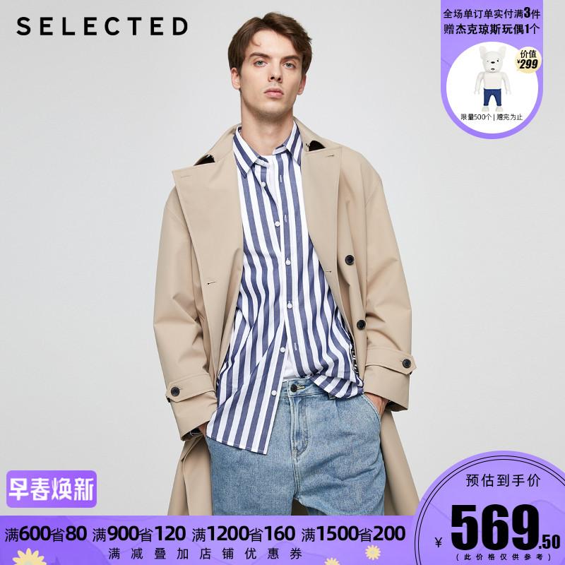420321030思莱德挺括复古双排扣休闲男士中长款风衣SELECTEDT
