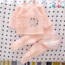 0一3月婴儿衣服冬季新生儿保暖衣冬内穿无骨秋冬套装分体纯棉打底