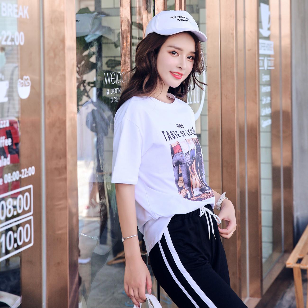黛莎朵2018夏季新款女装韩版潮宽松bf风人像印花短袖T恤上衣半袖