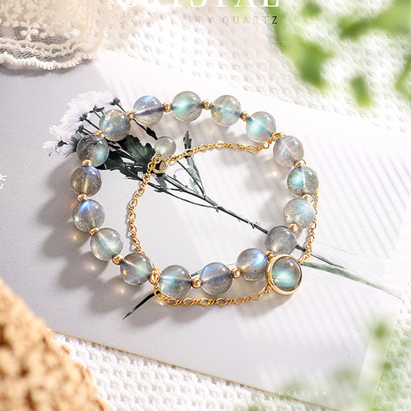 Natural grey moonlight elongated crystal bracelet womens blue light 14K package cool student friend gift of Kinson Department