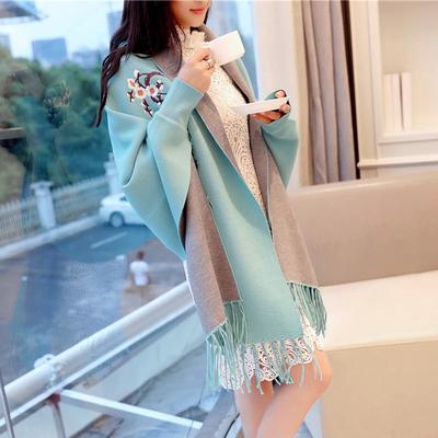 很仙的韩版刺绣毛衣针织衫女开衫宽松外套披肩中长款仙女斗篷披风