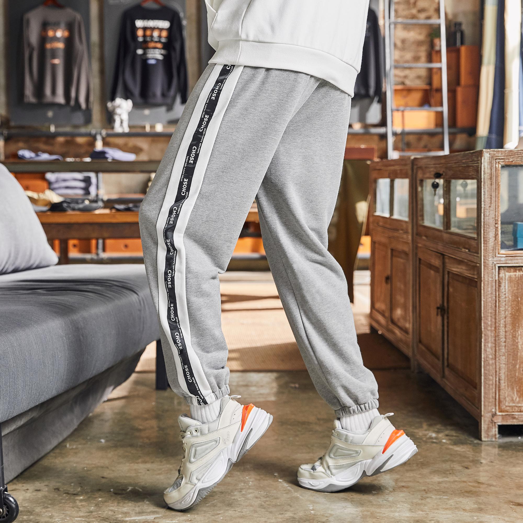 男童裤子2021秋季新款中大童儿童韩版撞色织带拼接潮酷运动裤