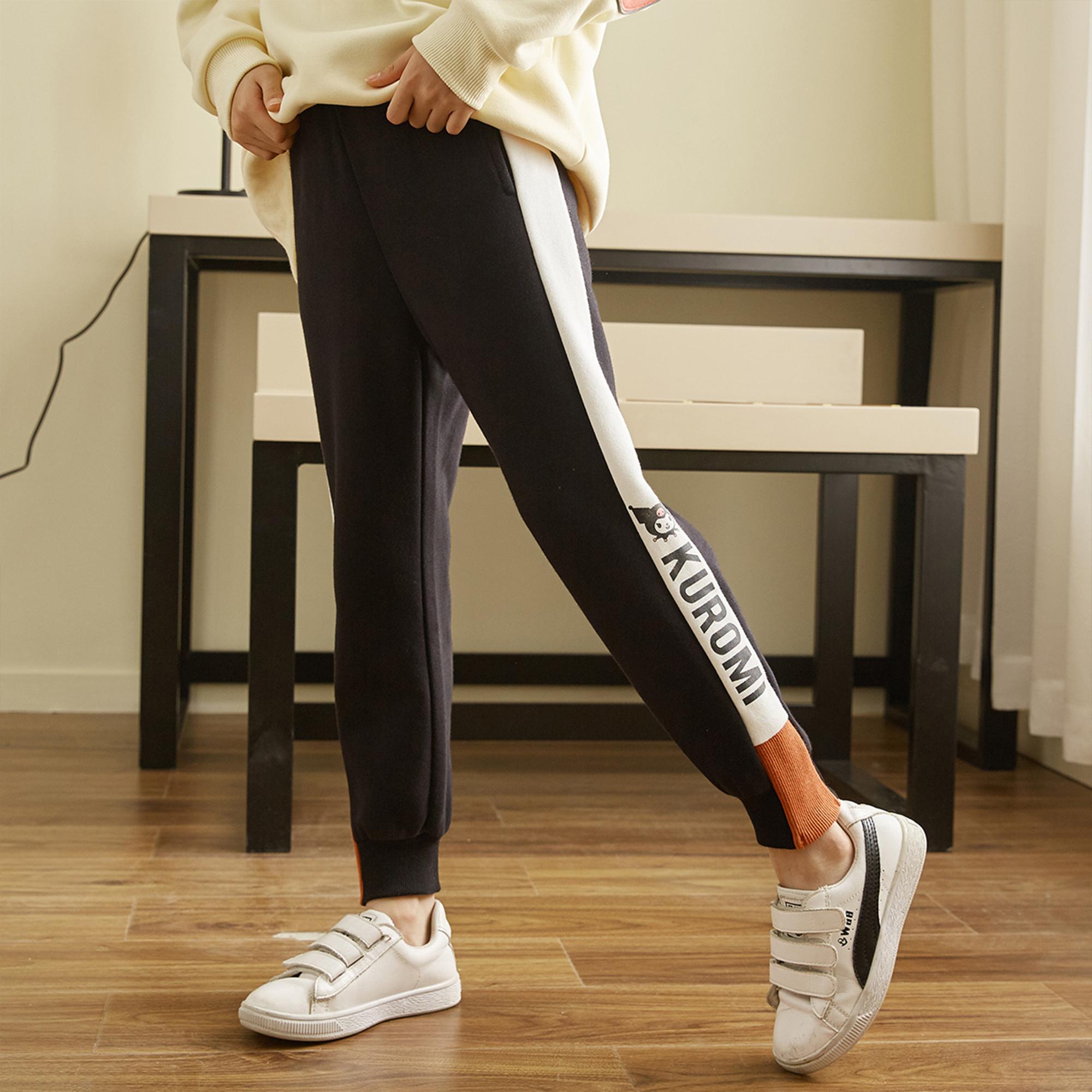 女童裤子2021冬装新款中大童儿童加绒加厚女童运动长裤