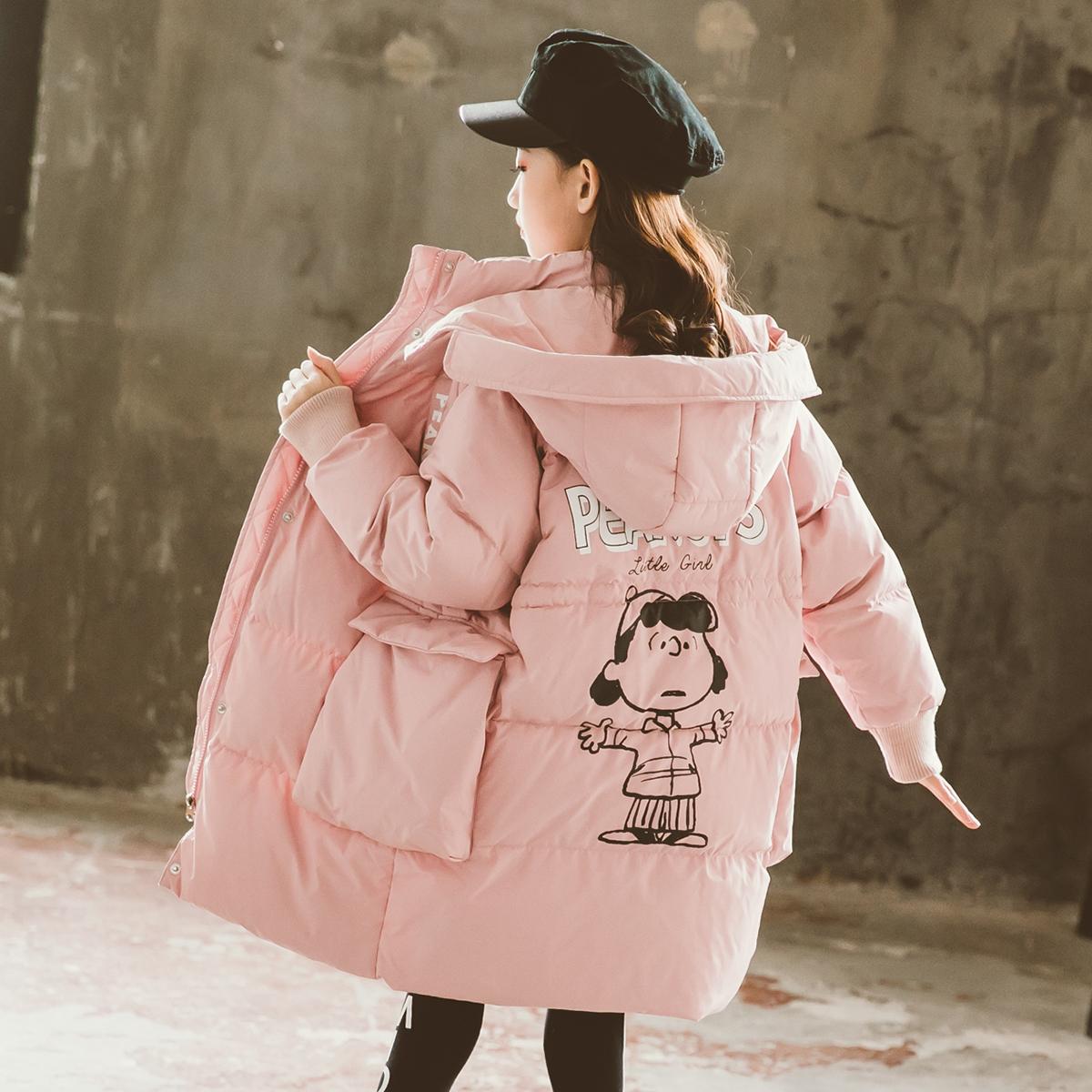 女童羽绒服冬装2021新款中大童儿童中长款韩版时尚加厚羽绒服
