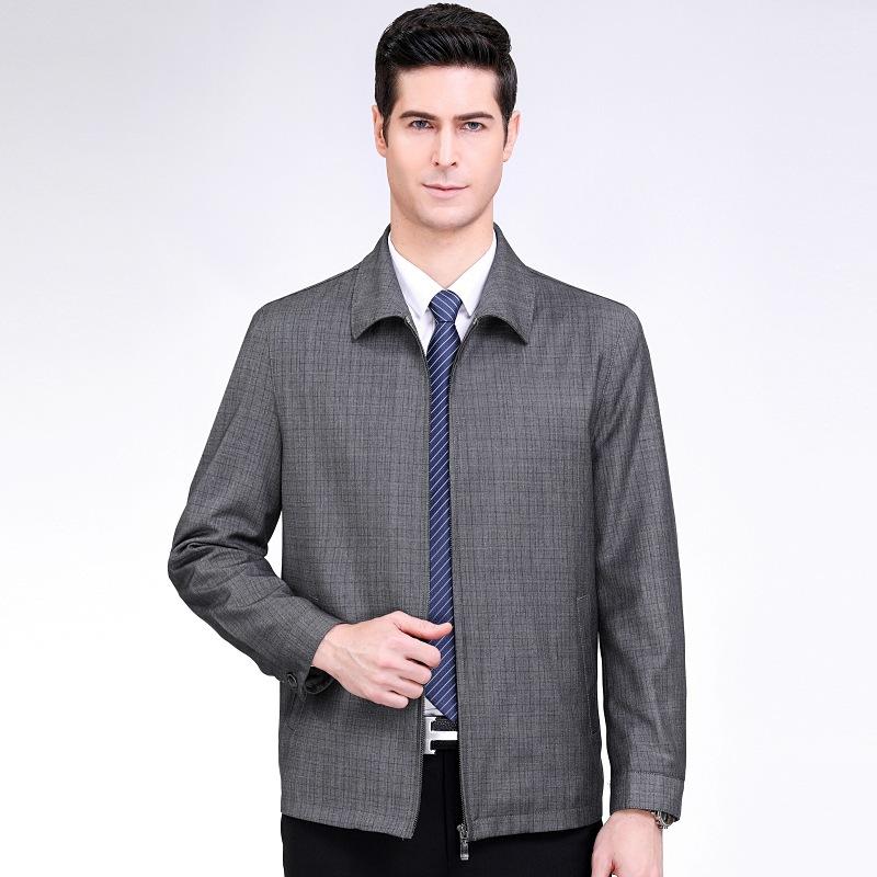 2020年春季中老年男式夹克商务休闲翻领格子羊毛茄克衫外套男薄款