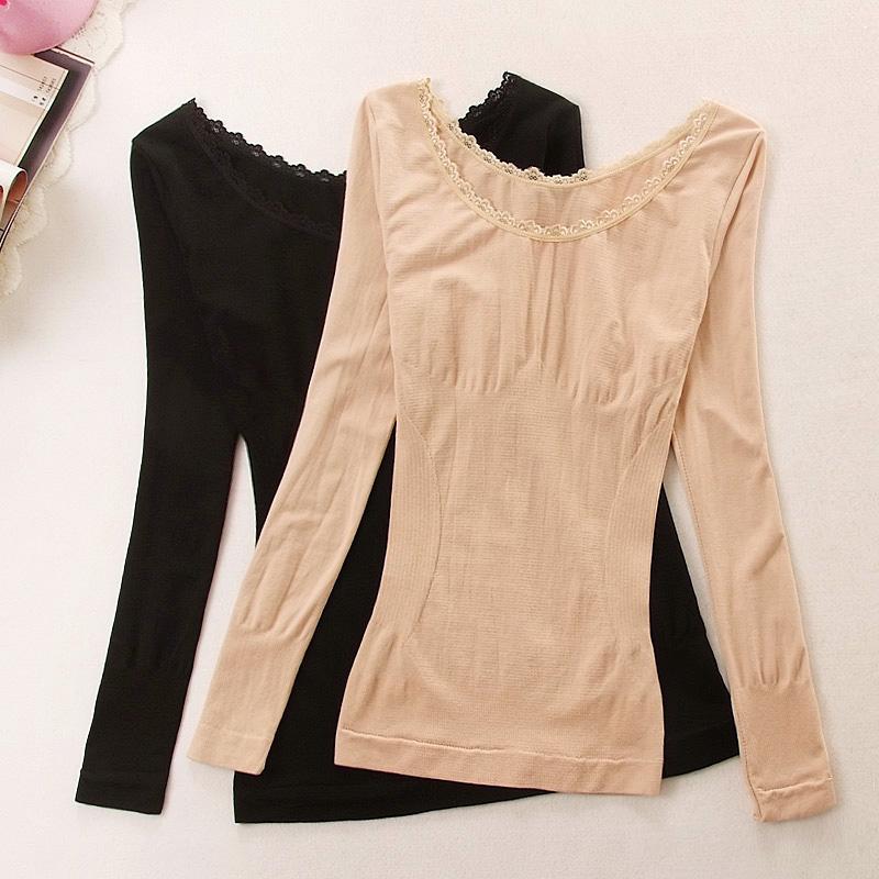 大圆领打底内衣女薄款塑身美体秋衣紧身长袖保暖衣单件棉毛衫上衣