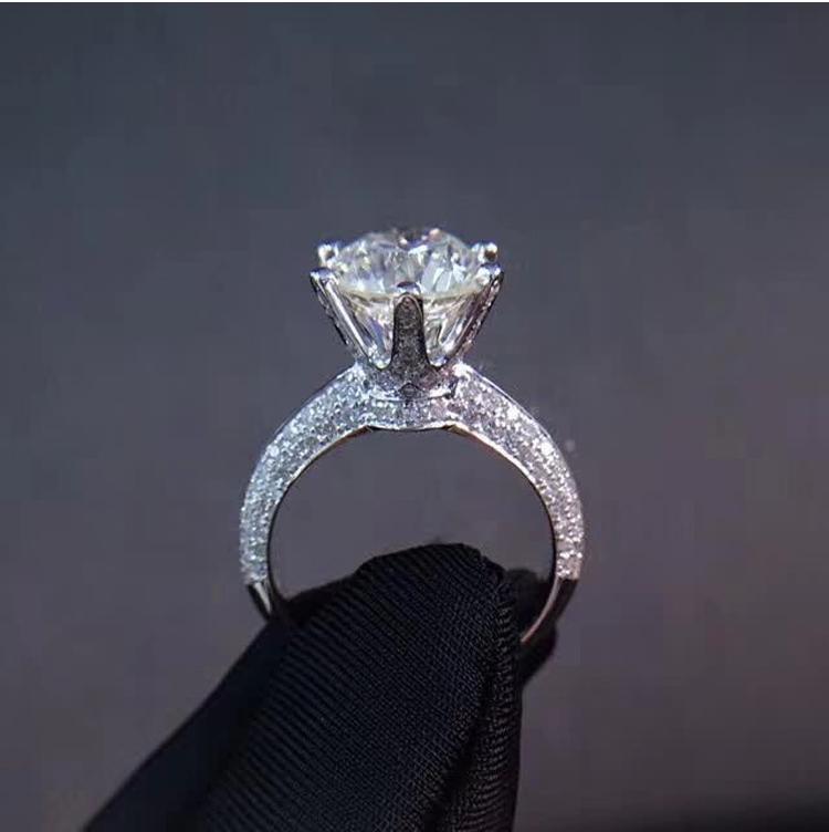 Vatican Fuqun set six claw round diamond ring white 18K gold wedding diamond ring proposal engagement diamond ring custom made