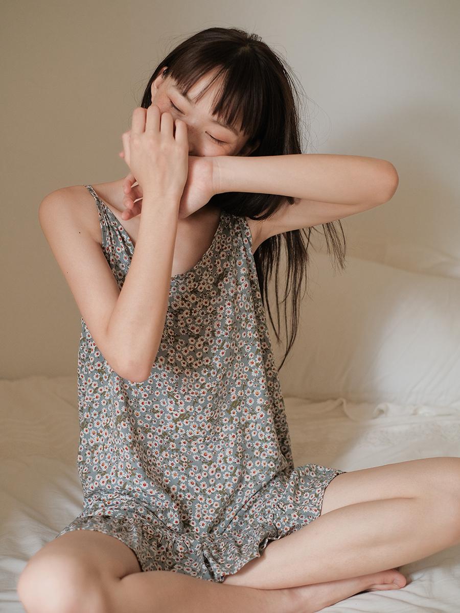 馨帮帮Bra 韩系优雅家居服可爱吊带睡裙花边小雏菊睡衣女夏季薄款