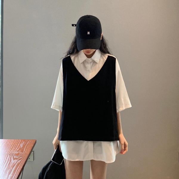 新款春夏大码女装 中长款假两件衬衫