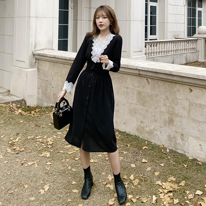 2020新款春装女装宫廷风初恋法式复古桔梗裙收腰甜美气质连衣裙