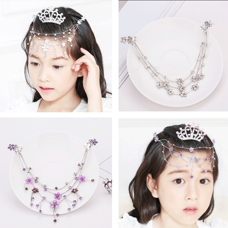 Childrens Crown Princess chain girl crystal diamond forehead chain girl dance performance hairpin crown set